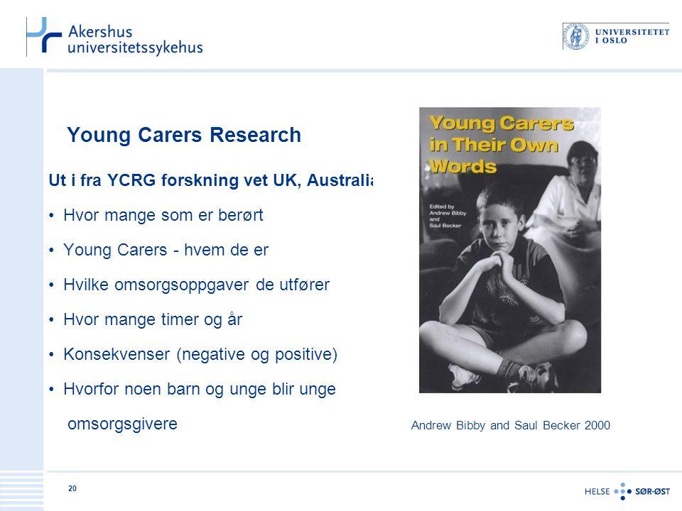 Young Carers Research Ut i fra YCRG forskning vet UK, Australia og US: • Hvor mange som er berørt • Young Carers - hvem de er • Hvilke omsorgsoppgaver
