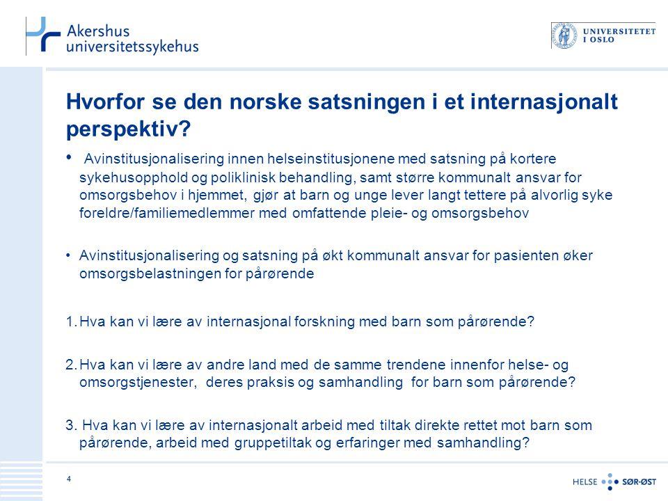 Hvorfor se den norske satsningen i et internasjonalt perspektiv? • Avinstitusjonalisering innen helseinstitusjonene med satsning på kortere sykehusopp