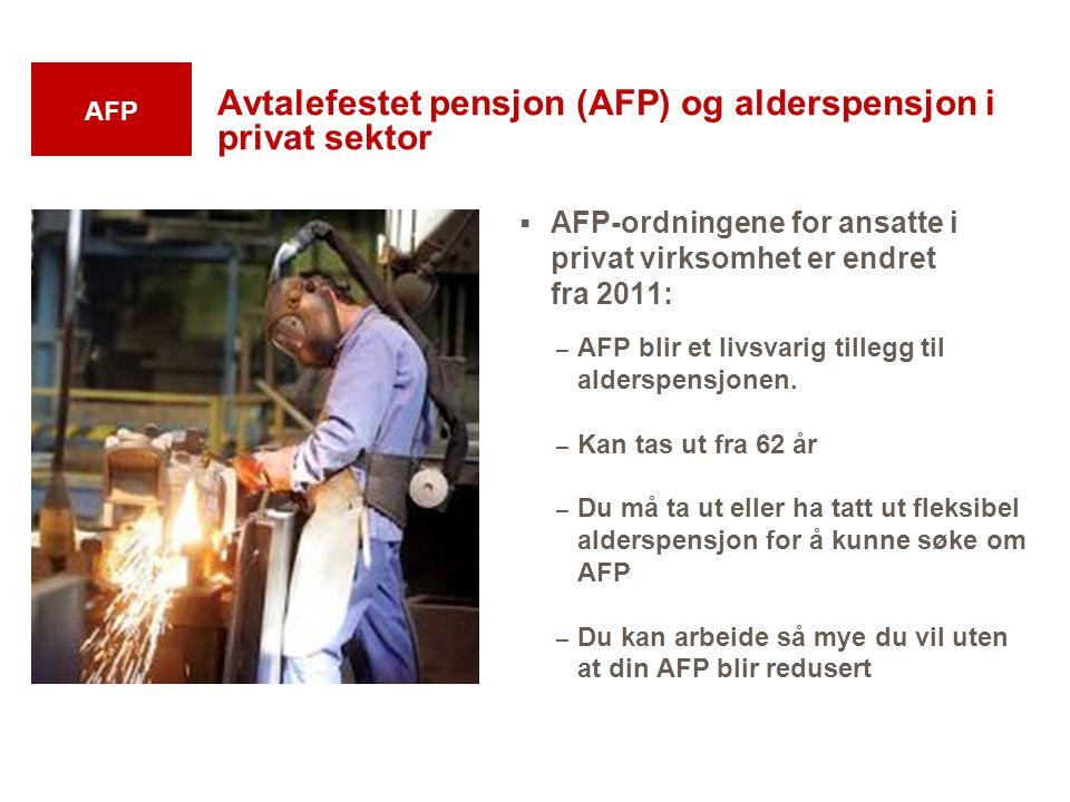 Avtalefestet pensjon (AFP) og alderspensjon i privat sektor  AFP-ordningene for ansatte i privat virksomhet er endret fra 2011: – AFP blir et livsvar