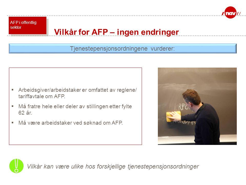  Arbeidsgiver/arbeidstaker er omfattet av reglene/ tariffavtale om AFP.  Må fratre hele eller deler av stillingen etter fylte 62 år.  Må være arbei