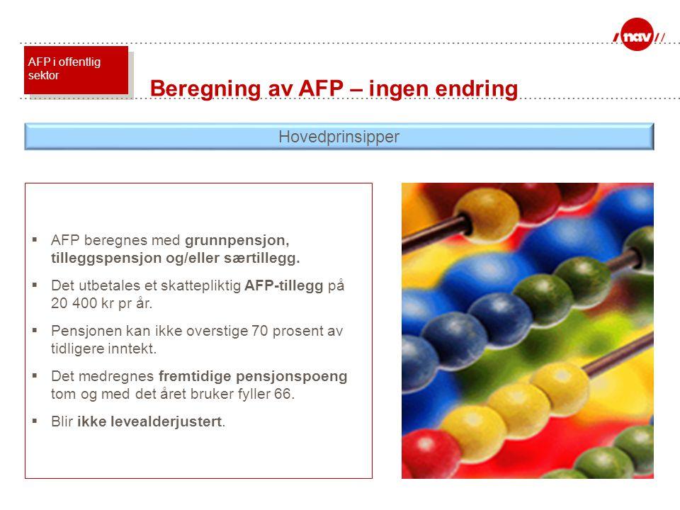  AFP beregnes med grunnpensjon, tilleggspensjon og/eller særtillegg.  Det utbetales et skattepliktig AFP-tillegg på 20 400 kr pr år.  Pensjonen kan