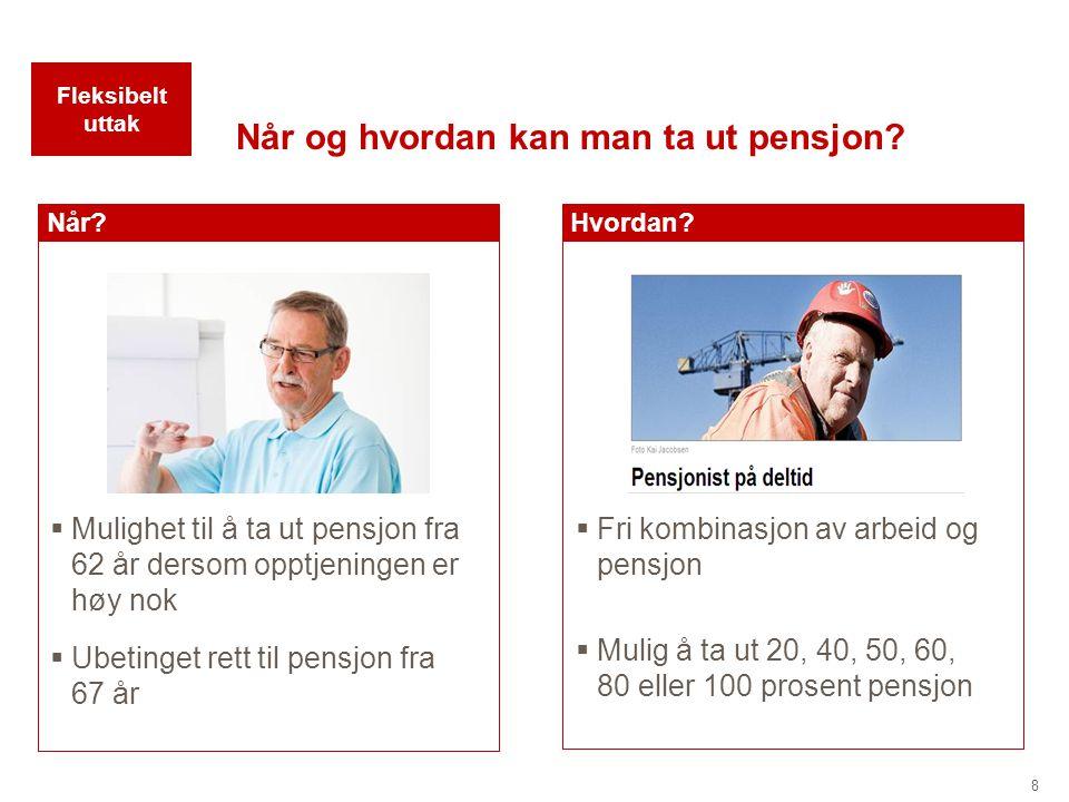 8 Når og hvordan kan man ta ut pensjon? Hvordan?Når?  Mulighet til å ta ut pensjon fra 62 år dersom opptjeningen er høy nok  Fri kombinasjon av arbe