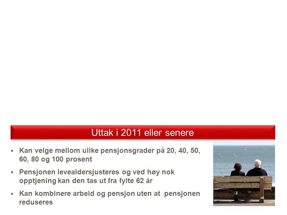 UttaksalderBeregning av pensjonPrøving av individuell garanti Før 67 år Alders- pensjon Forholdstall ved uttaksalder for alderspensjon.