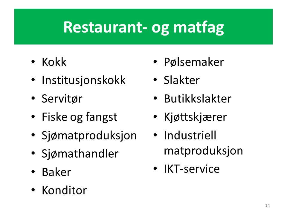 Restaurant- og matfag • Kokk • Institusjonskokk • Servitør • Fiske og fangst • Sjømatproduksjon • Sjømathandler • Baker • Konditor 14 • Pølsemaker • S
