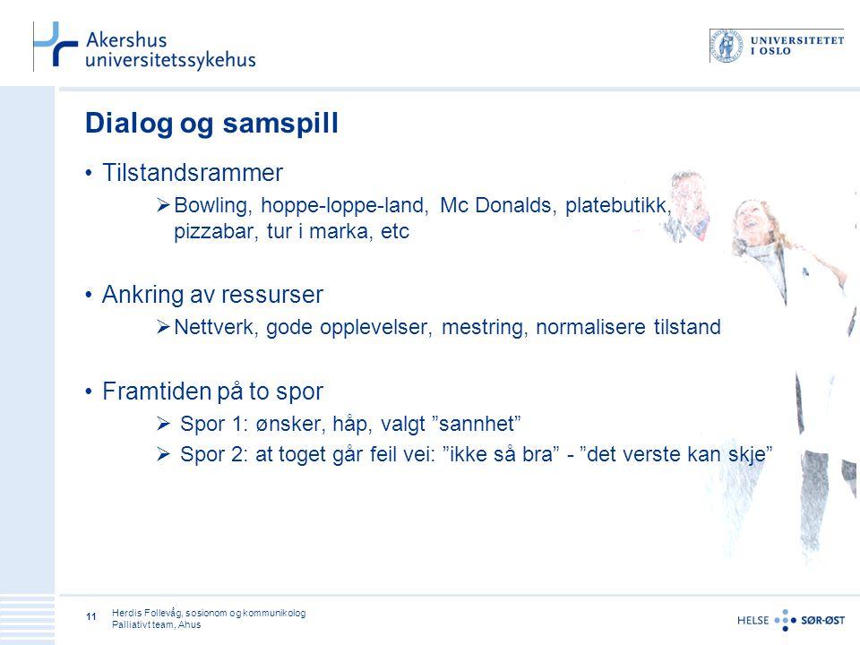 Herdis Follevåg, sosionom og kommunikolog Palliativt team, Ahus 11 Dialog og samspill •Tilstandsrammer  Bowling, hoppe-loppe-land, Mc Donalds, plateb