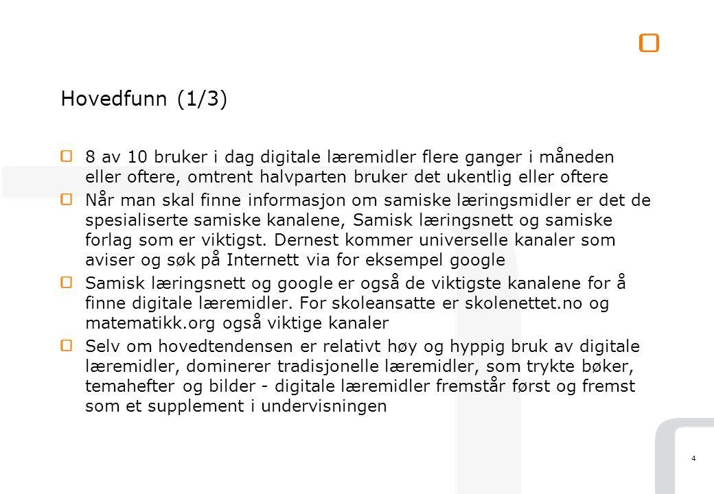 4 Hovedfunn (1/3) 8 av 10 bruker i dag digitale læremidler flere ganger i måneden eller oftere, omtrent halvparten bruker det ukentlig eller oftere Når man skal finne informasjon om samiske læringsmidler er det de spesialiserte samiske kanalene, Samisk læringsnett og samiske forlag som er viktigst.