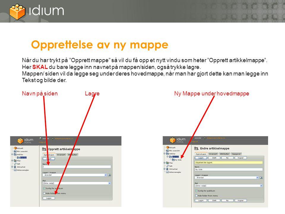 """Opprettelse av ny mappe Når du har trykt på """"Opprett mappe"""" så vil du få opp et nytt vindu som heter """"Opprett artikkelmappe"""". Her SKAL du bare legge i"""