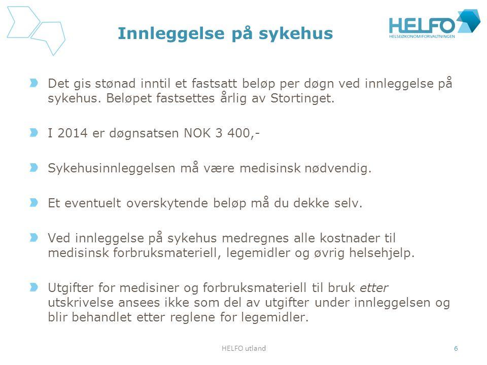 Andre helseutgifter som dekkes etter takster Vanlige legebesøk dekkes etter takster som utgjør mellom 45 og 80 norske kroner i refusjon.