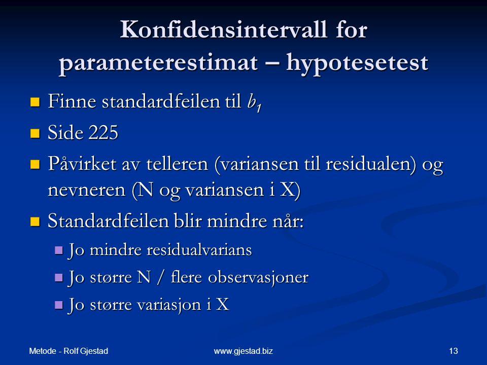 Metode - Rolf Gjestad 13www.gjestad.biz Konfidensintervall for parameterestimat – hypotesetest  Finne standardfeilen til b 1  Side 225  Påvirket av
