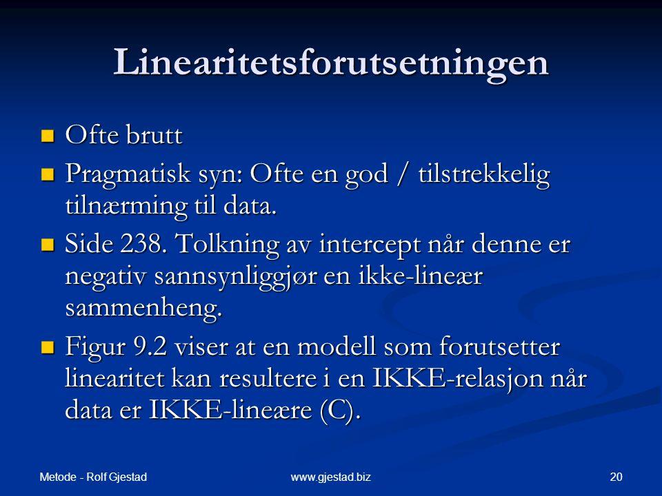 Metode - Rolf Gjestad 20www.gjestad.biz Linearitetsforutsetningen  Ofte brutt  Pragmatisk syn: Ofte en god / tilstrekkelig tilnærming til data.  Si