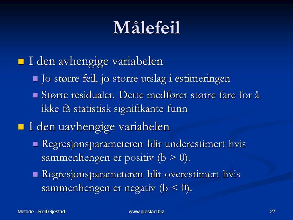 Metode - Rolf Gjestad 27www.gjestad.biz Målefeil  I den avhengige variabelen  Jo større feil, jo større utslag i estimeringen  Større residualer. D
