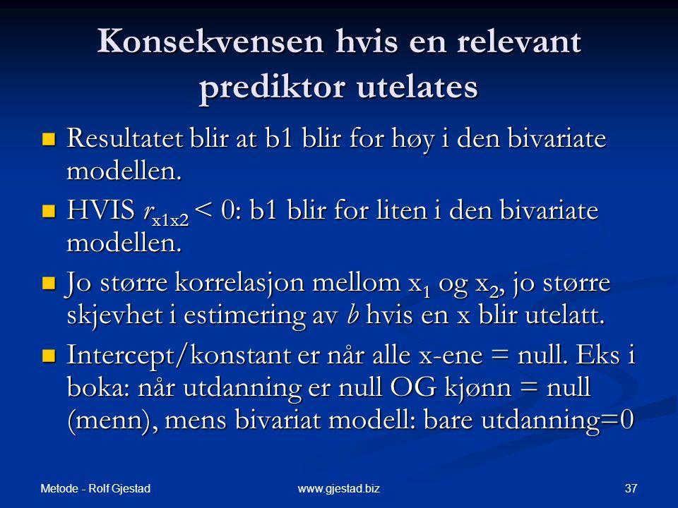 Metode - Rolf Gjestad 37www.gjestad.biz Konsekvensen hvis en relevant prediktor utelates  Resultatet blir at b1 blir for høy i den bivariate modellen