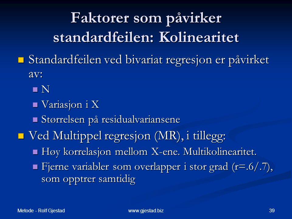 Metode - Rolf Gjestad 39www.gjestad.biz Faktorer som påvirker standardfeilen: Kolinearitet  Standardfeilen ved bivariat regresjon er påvirket av:  N