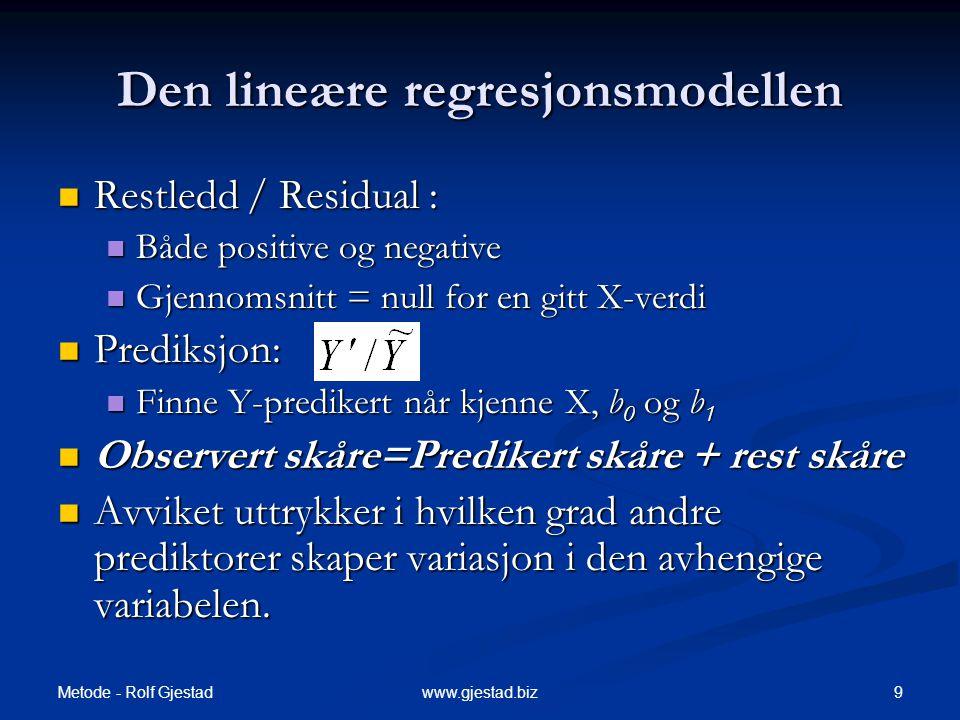 Metode - Rolf Gjestad 9www.gjestad.biz Den lineære regresjonsmodellen  Restledd / Residual :  Både positive og negative  Gjennomsnitt = null for en