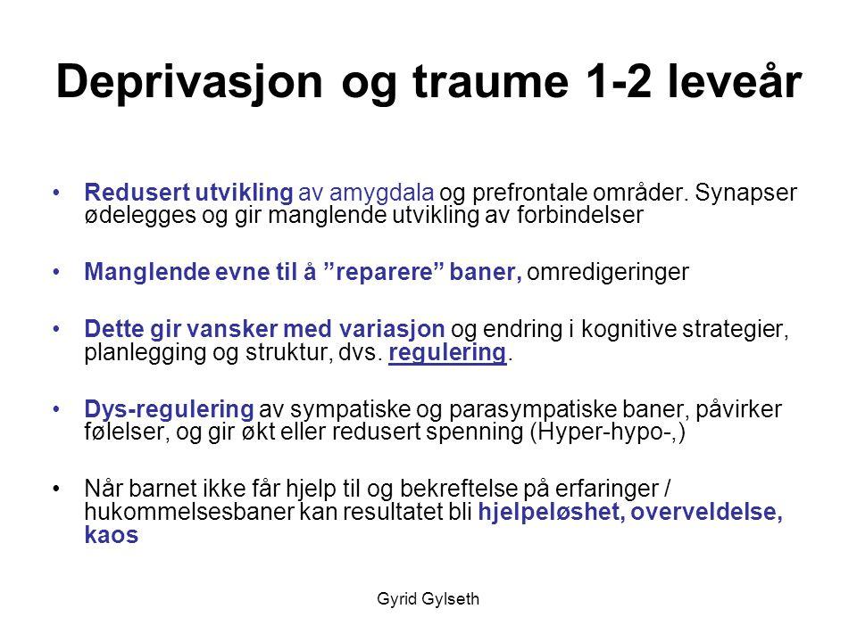 Gyrid Gylseth Deprivasjon og traume 1-2 leveår •Redusert utvikling av amygdala og prefrontale områder. Synapser ødelegges og gir manglende utvikling a