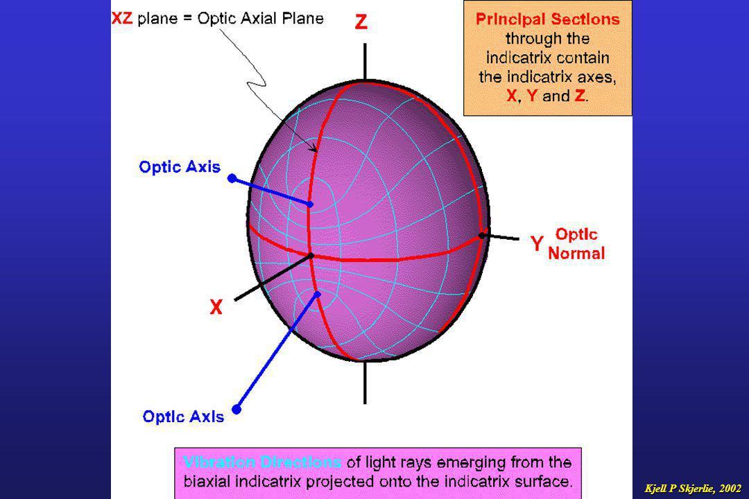 Det toaksete indikatriks har altså to sirkelplan, og to tilhørende optiske akser som står vinkelrett på disse sirkelplanene I toaksete mineraler vil det derfor være to snitt som er i utslukning under en hel omdreining av mikroskop- bordet.