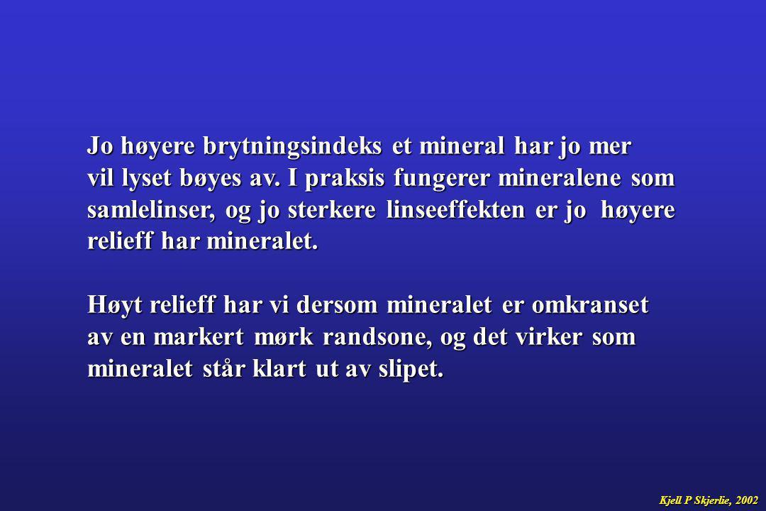 Jo høyere brytningsindeks et mineral har jo mer vil lyset bøyes av. I praksis fungerer mineralene som samlelinser, og jo sterkere linseeffekten er jo