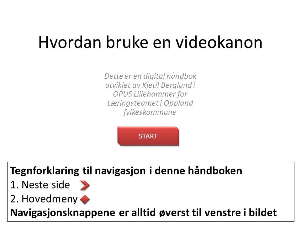 Hvordan bruke en videokanon Tegnforklaring til navigasjon i denne håndboken 1.Neste side 2.Hovedmeny Navigasjonsknappene er alltid øverst til venstre i bildet START Dette er en digital håndbok utviklet av Kjetil Berglund i OPUS Lillehammer for Læringsteamet i Oppland fylkeskommune