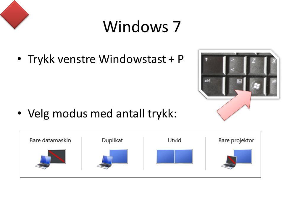 Windows 7 • Trykk venstre Windowstast + P • Velg modus med antall trykk: