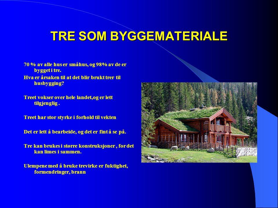 TRE SOM BYGGEMATERIALE 70 % av alle hus er småhus, og 98% av de er bygget i tre. Hva er årsaken til at det blir brukt trer til husbygging? Treet vokse