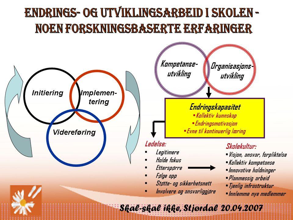 Skal-skal ikke, Stjørdal 20.04.2007 Endringskapasitet • Kollektiv kunnskap • Endringsmotivasjon • Evne til kontinuerlig læring Ledelse: • Legitimere • Holde fokus • Etterspørre • Følge opp • Støtte- og sikkerhetsnett • Involvere og ansvarliggjøre Skolekultur: • Visjon, ansvar, forpliktelse • Kollektiv kompetanse • Innovative holdninger • Planmessig arbeid • Tjenlig infrastruktur • Innlemme nye medlemmer InitieringImplemen- tering Videreføring Kompetanse- utvikling Organisasjons- utvikling