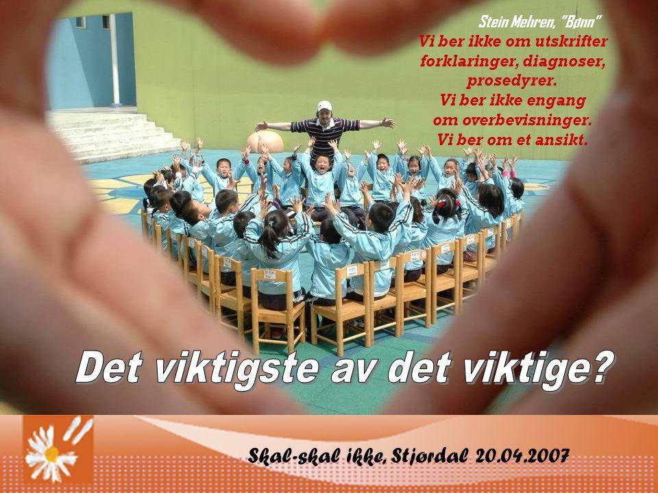 Skal-skal ikke, Stjørdal 20.04.2007 Stein Mehren, Bønn Vi ber ikke om utskrifter forklaringer, diagnoser, prosedyrer.