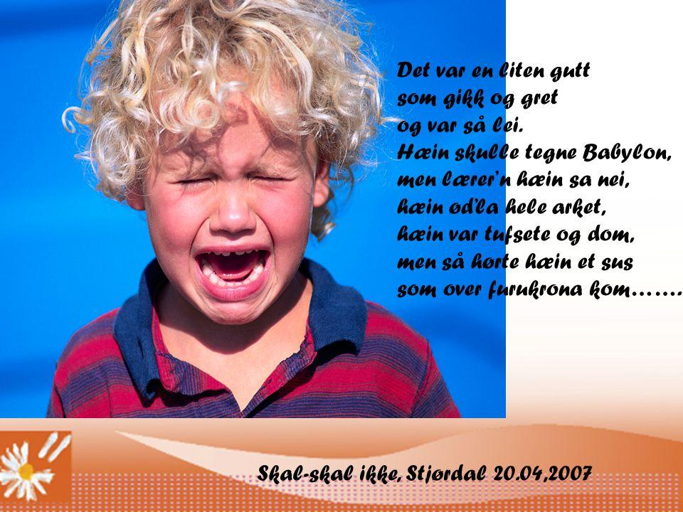 Skal-skal ikke, Stjørdal 20.04,2007 Det var en liten gutt som gikk og gret og var så lei.