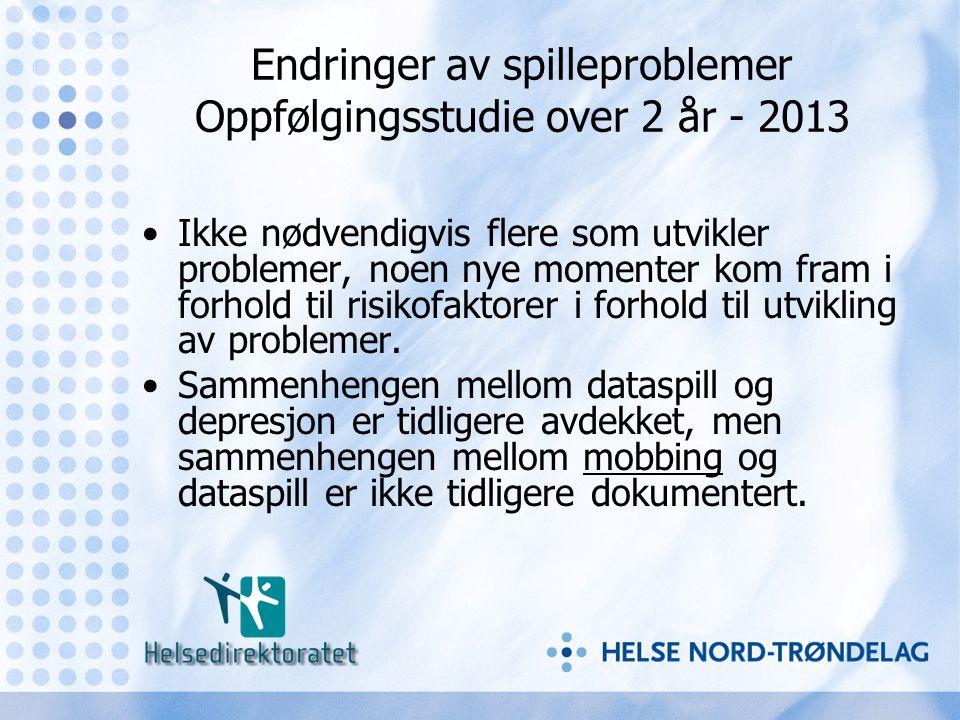 Endringer av spilleproblemer Oppfølgingsstudie over 2 år - 2013 •Ikke nødvendigvis flere som utvikler problemer, noen nye momenter kom fram i forhold