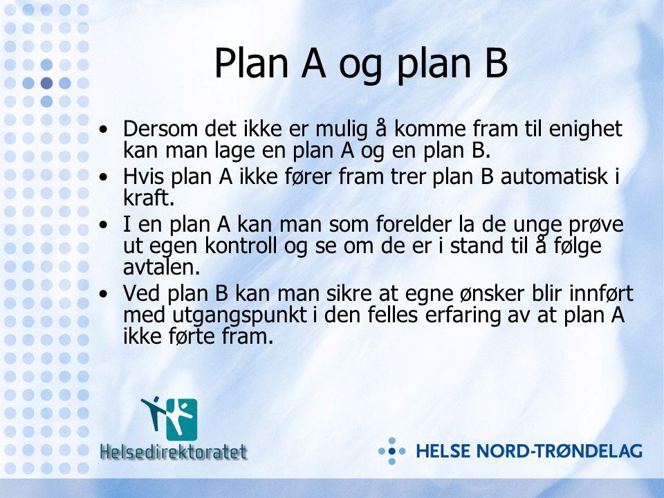 Plan A og plan B •Dersom det ikke er mulig å komme fram til enighet kan man lage en plan A og en plan B. •Hvis plan A ikke fører fram trer plan B auto