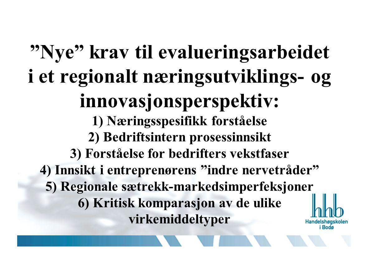 """""""Nye"""" krav til evalueringsarbeidet i et regionalt næringsutviklings- og innovasjonsperspektiv: 1) Næringsspesifikk forståelse 2) Bedriftsintern proses"""