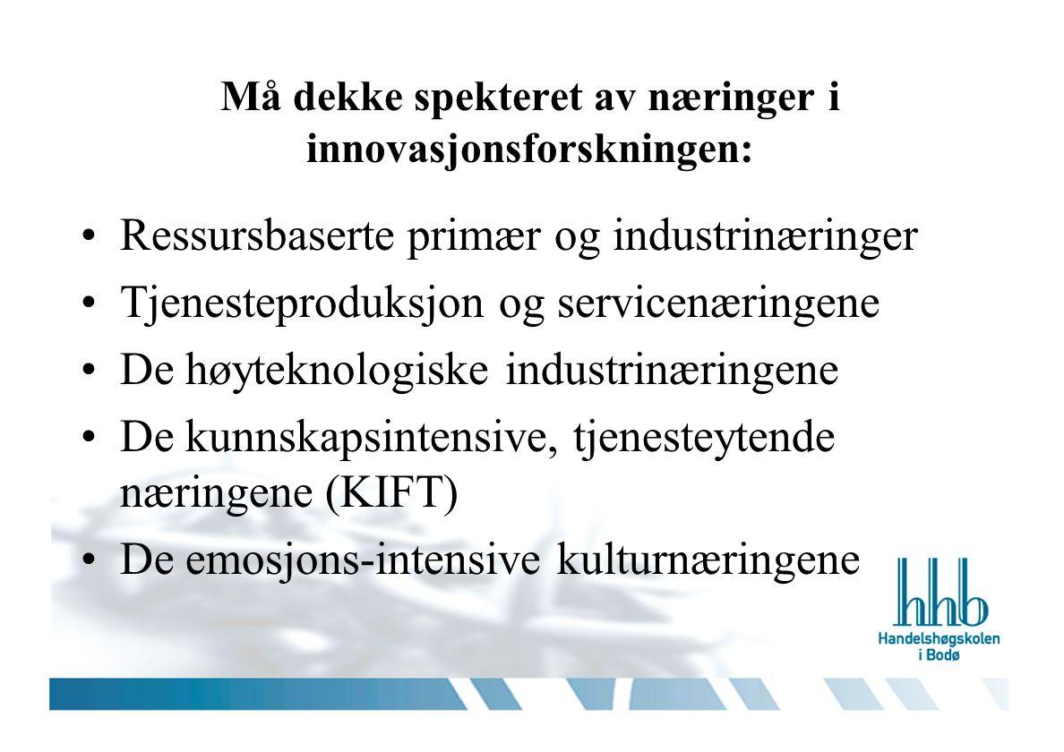 Må dekke spekteret av næringer i innovasjonsforskningen: •Ressursbaserte primær og industrinæringer •Tjenesteproduksjon og servicenæringene •De høytek