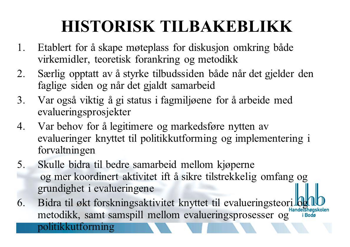 HISTORISK TILBAKEBLIKK 1.Etablert for å skape møteplass for diskusjon omkring både virkemidler, teoretisk forankring og metodikk 2.Særlig opptatt av å