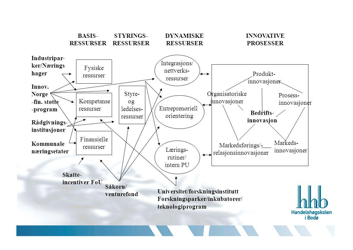 Bedrifts- innovasjon Produkt- innovasjoner Prosess- innovasjoner Organisatoriske innovasjoner Markedsførings/- relasjonsinnovasjoner Markeds- innovasj
