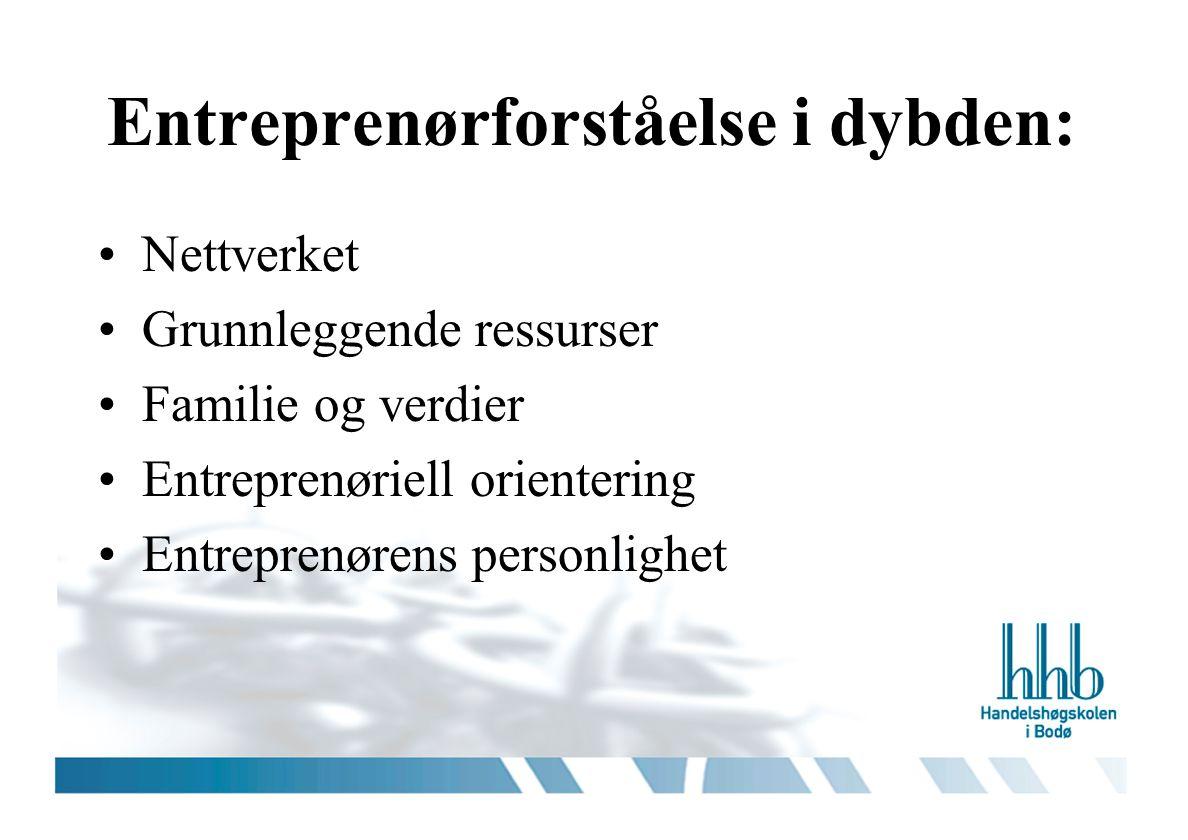 Entreprenørforståelse i dybden: •Nettverket •Grunnleggende ressurser •Familie og verdier •Entreprenøriell orientering •Entreprenørens personlighet
