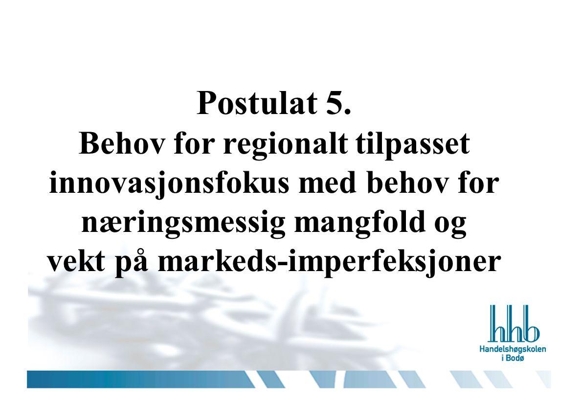 Postulat 5. Behov for regionalt tilpasset innovasjonsfokus med behov for næringsmessig mangfold og vekt på markeds-imperfeksjoner