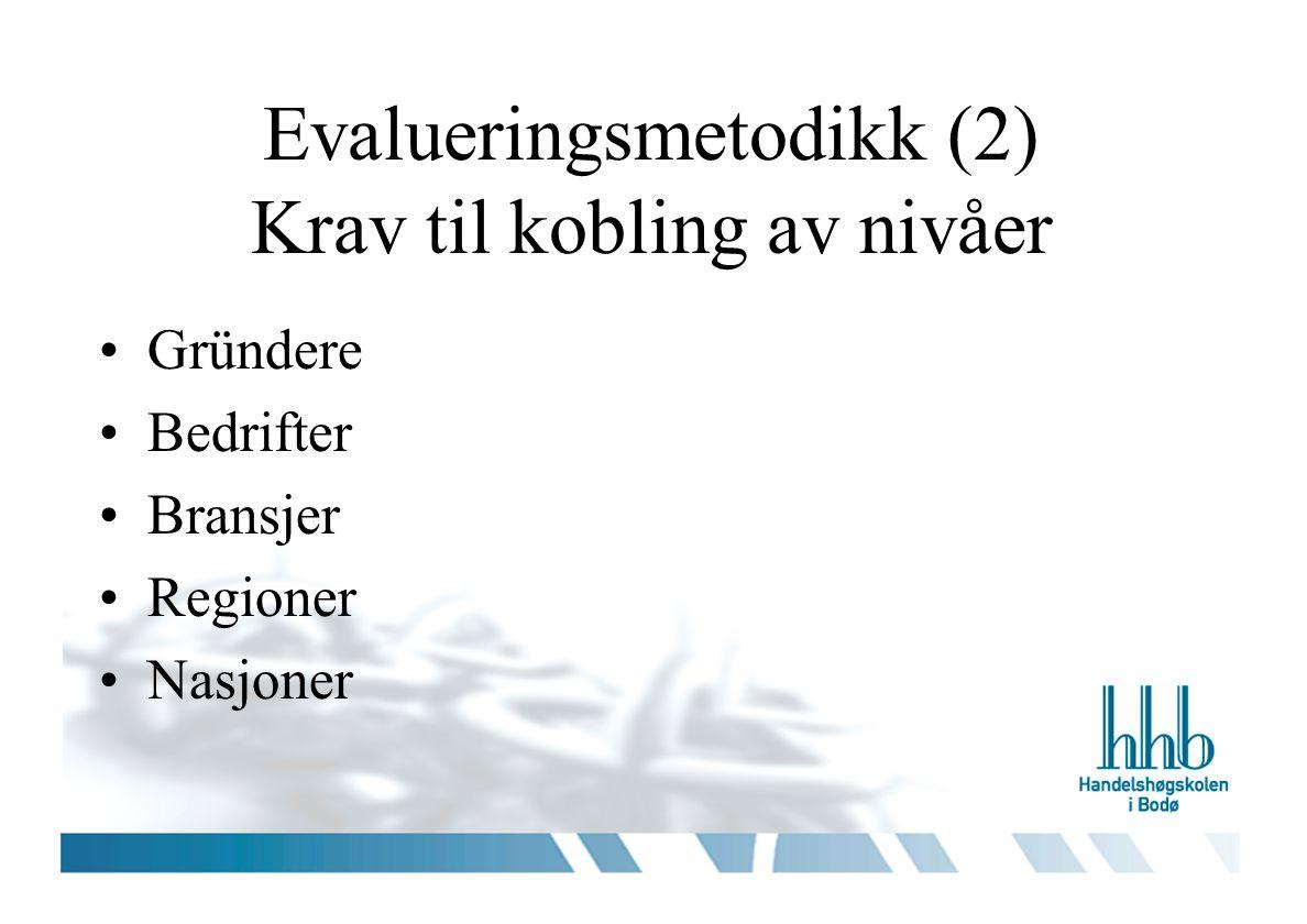 Evalueringsmetodikk (2) Krav til kobling av nivåer •Gründere •Bedrifter •Bransjer •Regioner •Nasjoner