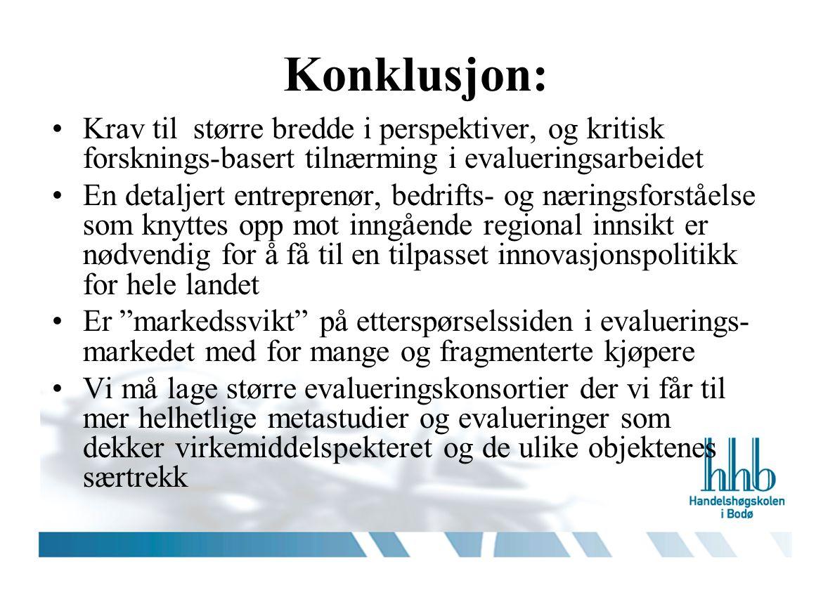 Konklusjon: •Krav til større bredde i perspektiver, og kritisk forsknings-basert tilnærming i evalueringsarbeidet •En detaljert entreprenør, bedrifts-