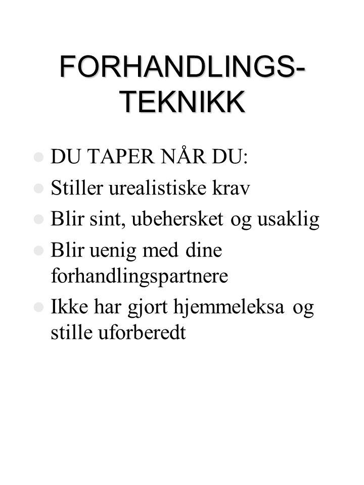 FORHANDLINGS- TEKNIKK  SÆRMØTE – NÅR.