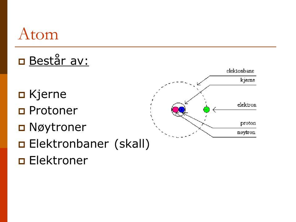 Atom  Består av:  Kjerne  Protoner  Nøytroner  Elektronbaner (skall)  Elektroner