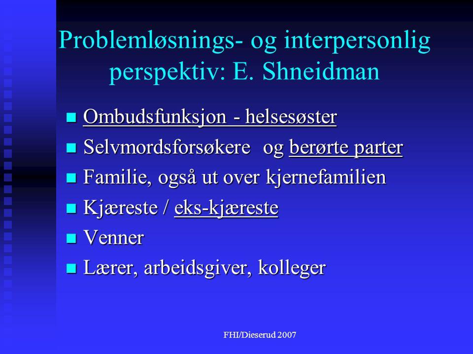 FHI/Dieserud 2007 Problemløsnings- og interpersonlig perspektiv: E.