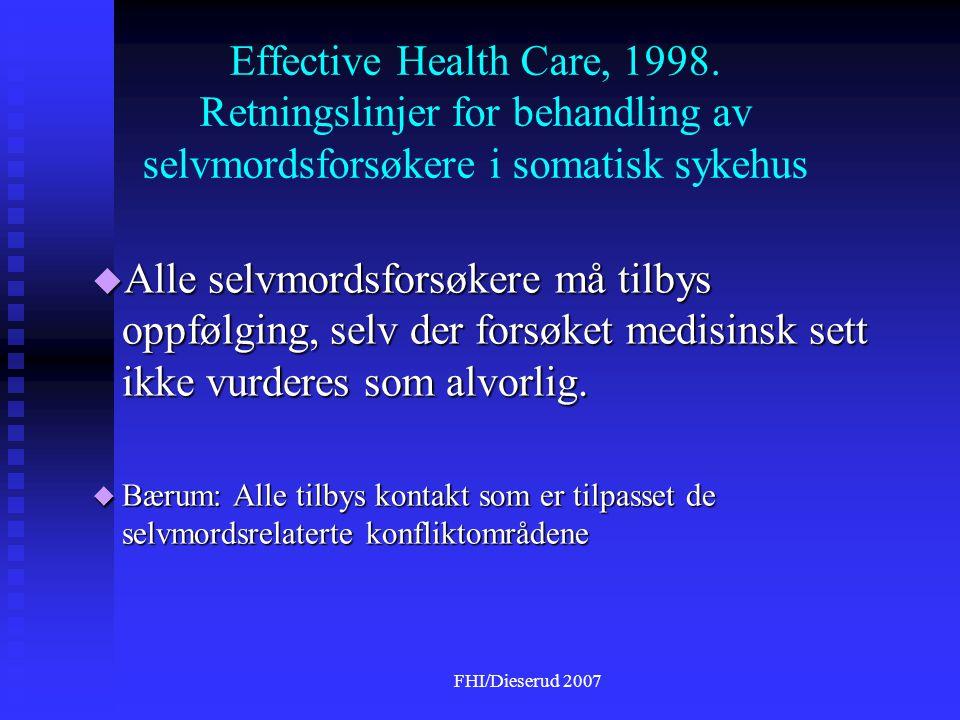 FHI/Dieserud 2007 Effective Health Care, 1998.
