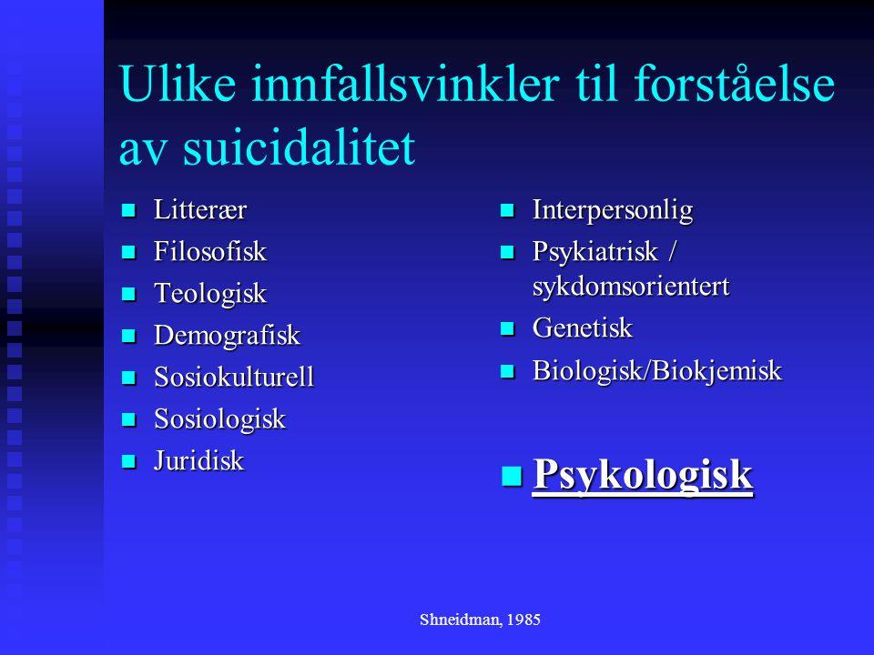 Shneidman, 1985 Ulike innfallsvinkler til forståelse av suicidalitet  Litterær  Filosofisk  Teologisk  Demografisk  Sosiokulturell  Sosiologisk  Juridisk  Interpersonlig  Psykiatrisk / sykdomsorientert  Genetisk  Biologisk/Biokjemisk  Psykologisk