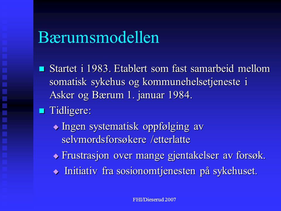FHI/Dieserud 2007 Bærumsmodellen  Startet i 1983.