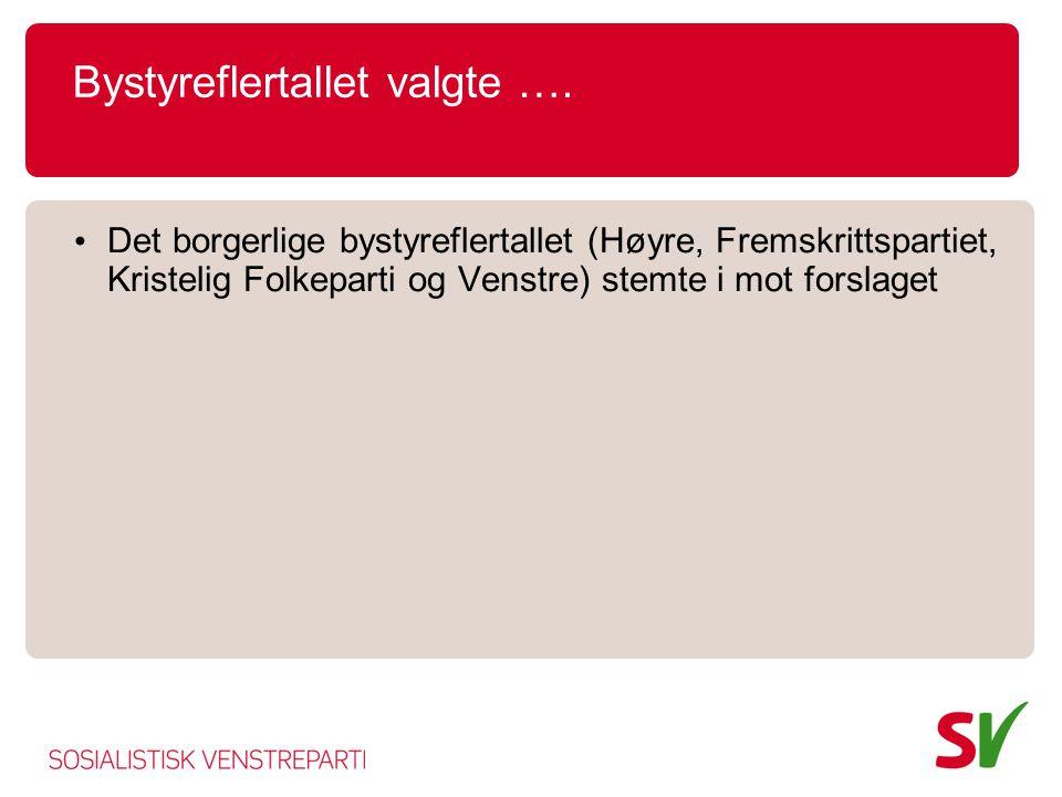 Bystyreflertallet valgte …. • Det borgerlige bystyreflertallet (Høyre, Fremskrittspartiet, Kristelig Folkeparti og Venstre) stemte i mot forslaget