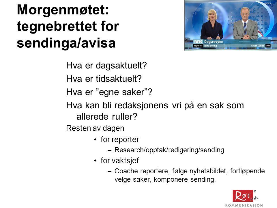 Morgenmøtet: tegnebrettet for sendinga/avisa Hva er dagsaktuelt.