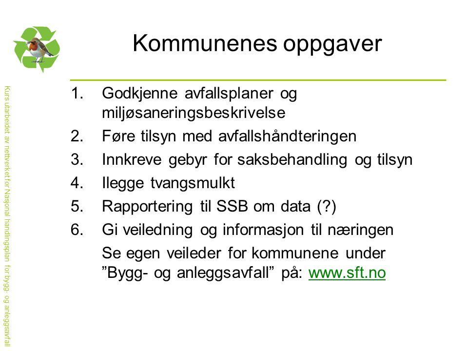 Kurs utarbeidet av nettverket for Nasjonal handlingsplan for bygg- og anleggsavfall Kommunenes oppgaver 1.Godkjenne avfallsplaner og miljøsaneringsbes