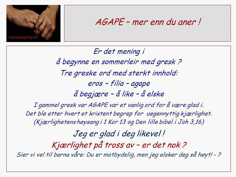 AGAPE – mer enn du aner ! Er det mening i å begynne en sommerleir med gresk ? Tre greske ord med sterkt innhold: eros – filia – agape å begjære – å li