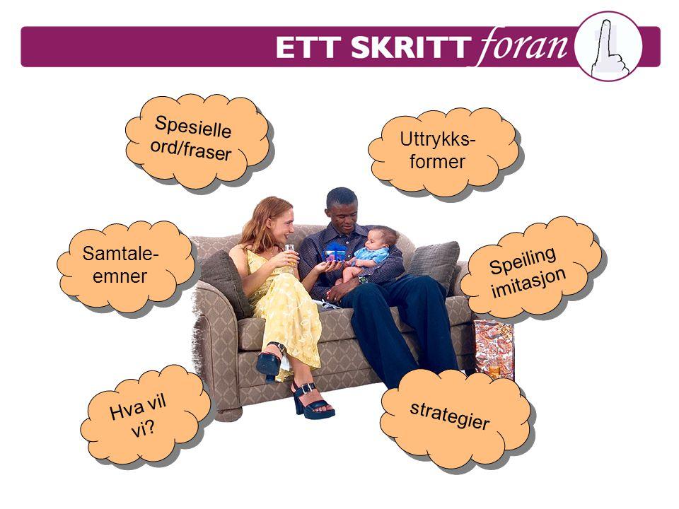 Spesielle ord/fraser Uttrykks- former Samtale- emner Samtale- emner Hva vil vi? Speiling imitasjon Speiling imitasjon strategier