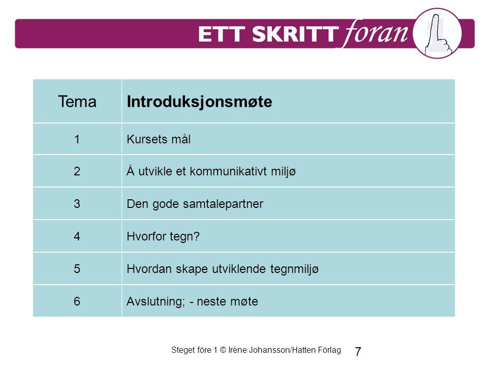 Steget före 1 © Irène Johansson/Hatten Förlag 7 TemaIntroduksjonsmøte 1Kursets mål 2Å utvikle et kommunikativt miljø 3Den gode samtalepartner 4Hvorfor