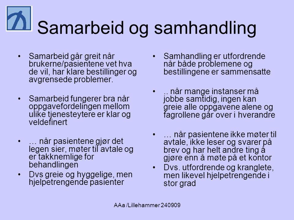 AAa /Lillehammer 240909 Samarbeid og samhandling •Samarbeid går greit når brukerne/pasientene vet hva de vil, har klare bestillinger og avgrensede problemer.